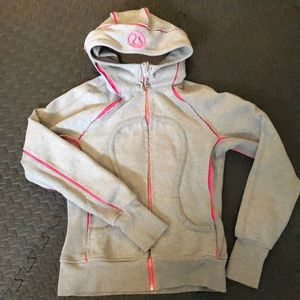 Lululemon grey/pink zip up scuba hoodie. EUC!